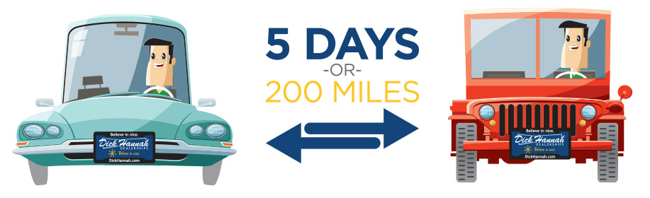 5 days or 200 miles